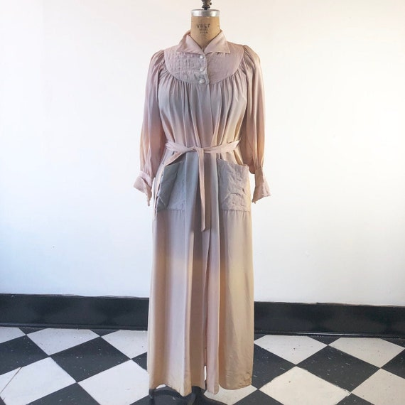 Gorgeous 1940's Ombré Robe Dressing Gown M