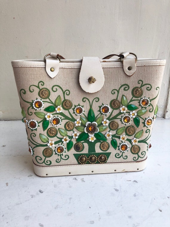 1950s Enid Collins Embellished Money Tree Handbag