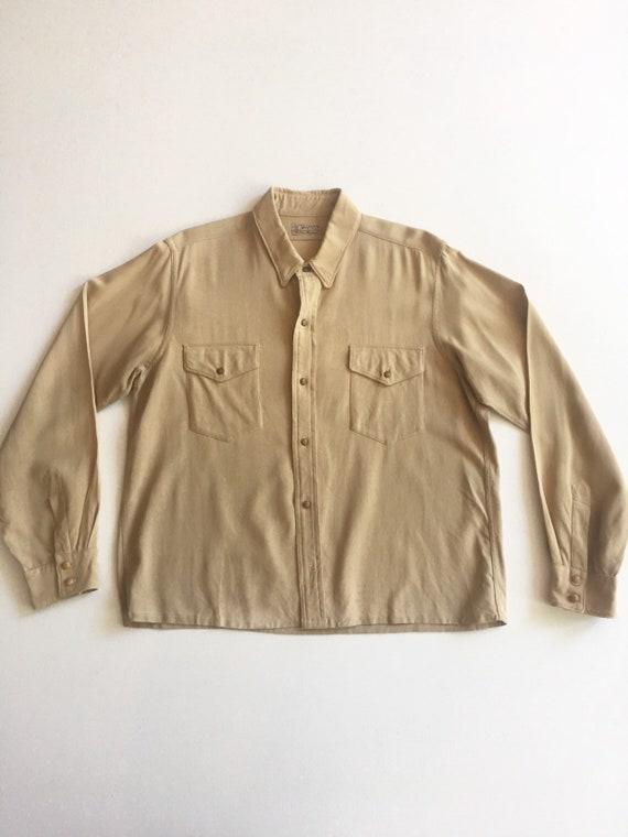 1940s Gabardine Western Casual Shirt M