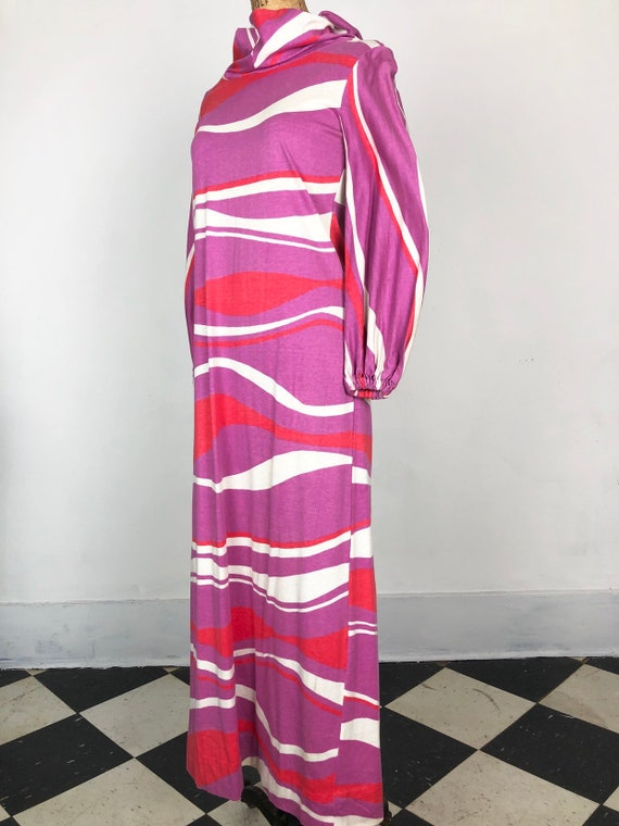 WILD Hooded Cotton 70's Knit Maxi Dress M