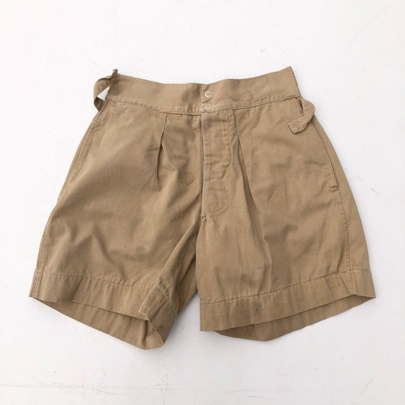1940s Khaki Gym Uniform Shorts 25""