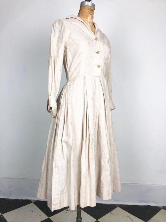 CUTE 1950's Ivory Cotton Jacquard Shirt Dress S