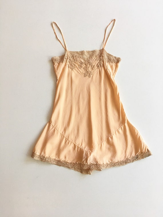 1920s Lace Pink Silk Teddy S