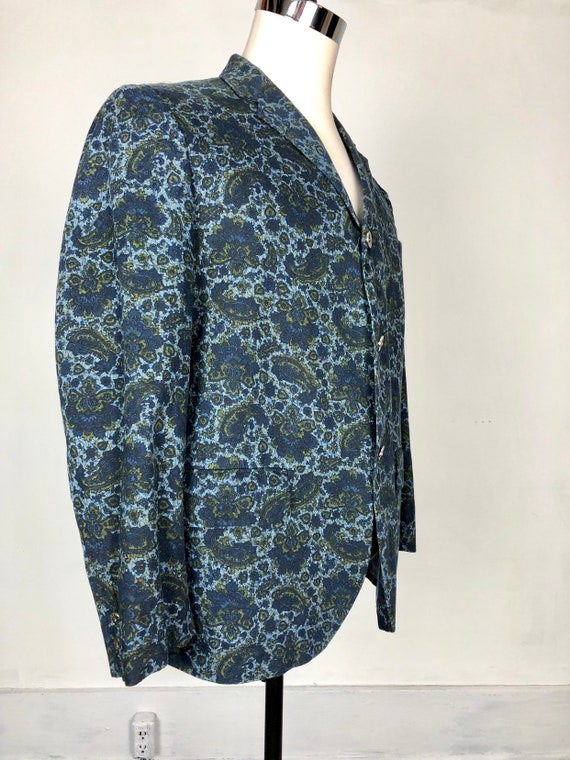 1960s Paisley Print Cotton Dinner Jacket S - image 4