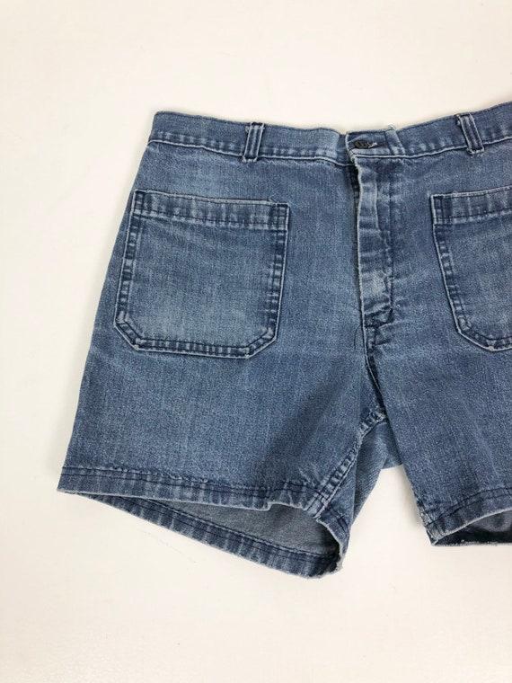 """1970s Naval Dungaree Denim Sailor Shorts 30"""" Waist - image 4"""