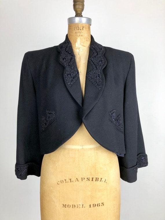 1940's Wool Bolero Jacket W/ Applique M - image 3
