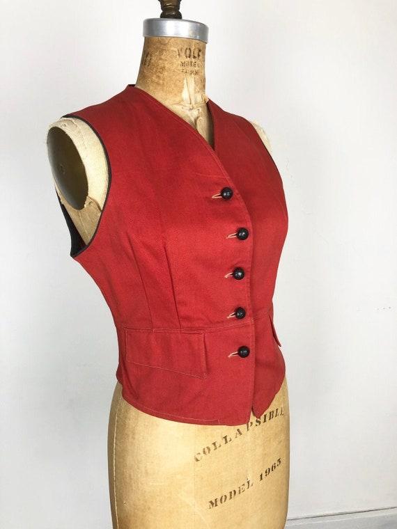 FABULOUS 1940s Red Cotton Twill Vest S