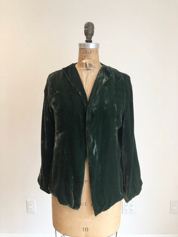 1930s Emerald Green Silk Velvet Jacket S - image 3