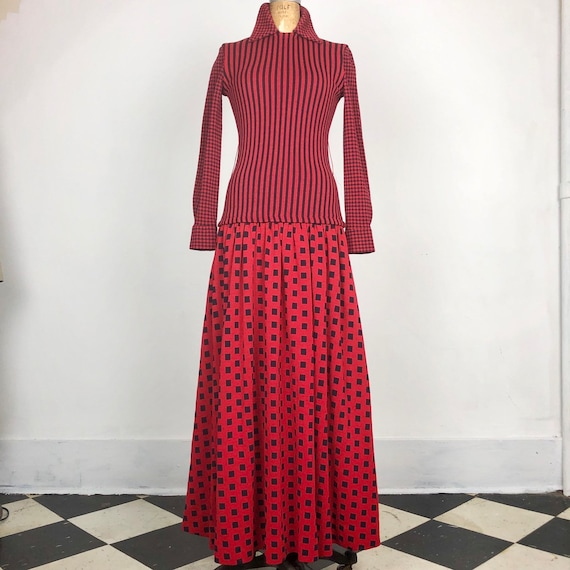 Gorgeous Rudi Gernreich 60s Wool Maxi Dress M