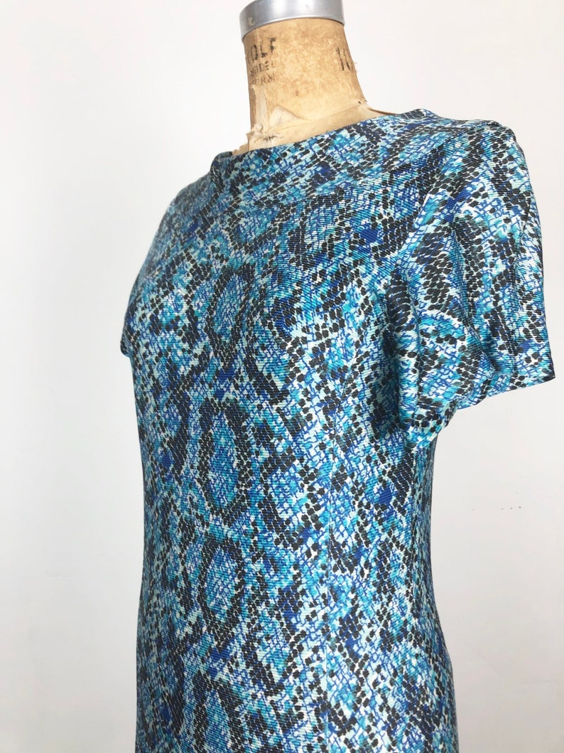 KILLER 1960s Blue Snakeskin Print Nylon Jersey Dress M