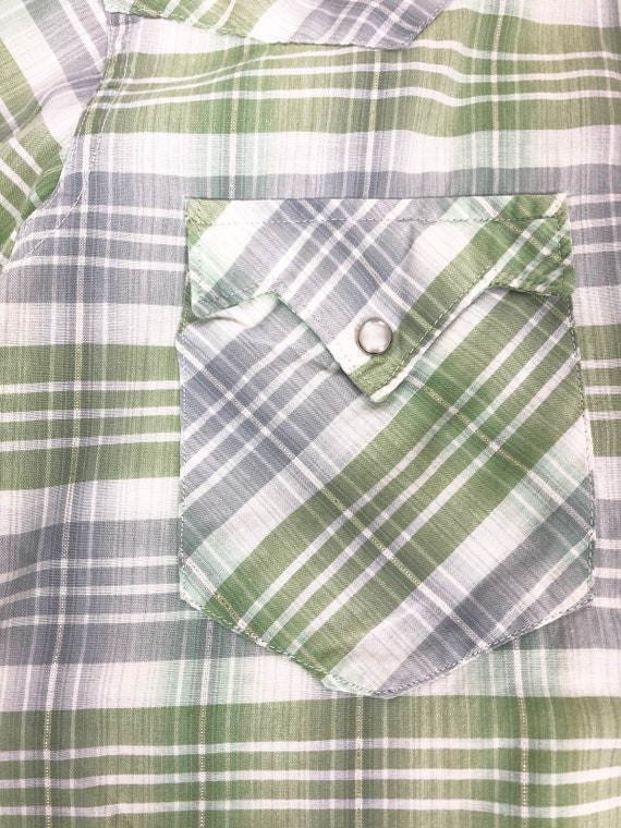 50's Ranchcraft Green Plaid Western Shirt S - image 3