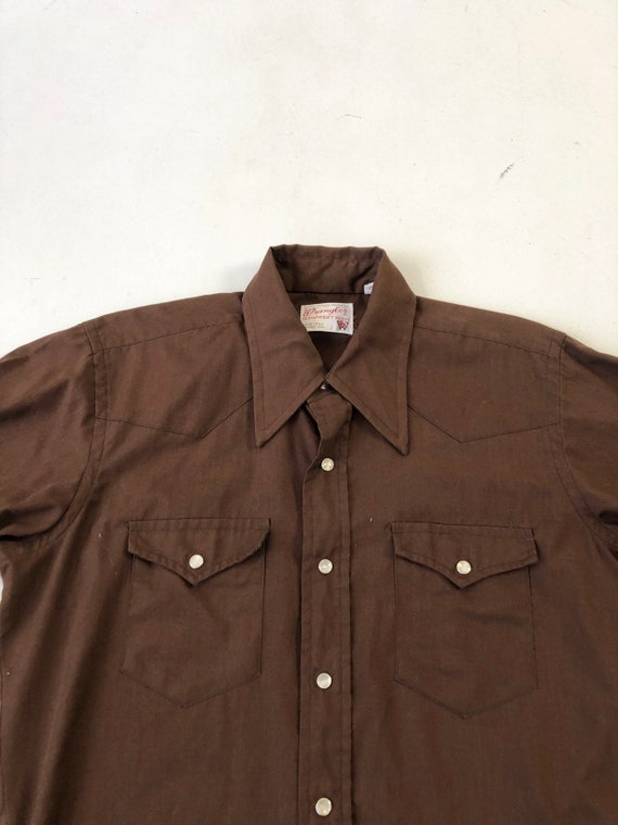 1970's Wrangler Brown Western Snap Shirt S - image 2