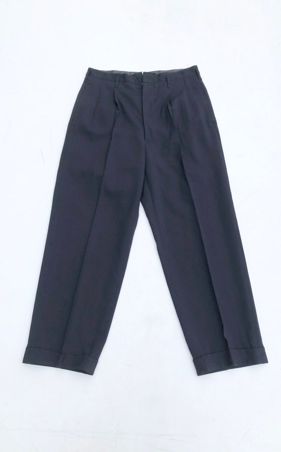 """1950s Navy Rayon Crepe Trousers 30"""""""