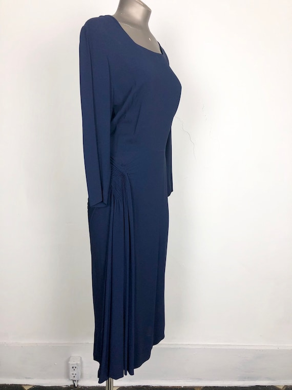 Navy 1940s Rayon Crepe Pleated Hip Detail Dress S