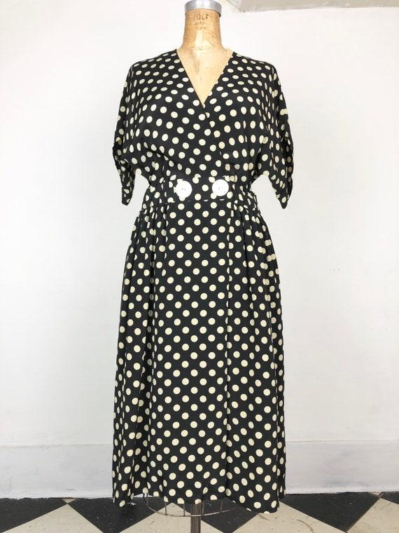 1980s Does 1940s Navy Silk Polka Dot Wrap Dress M - image 4