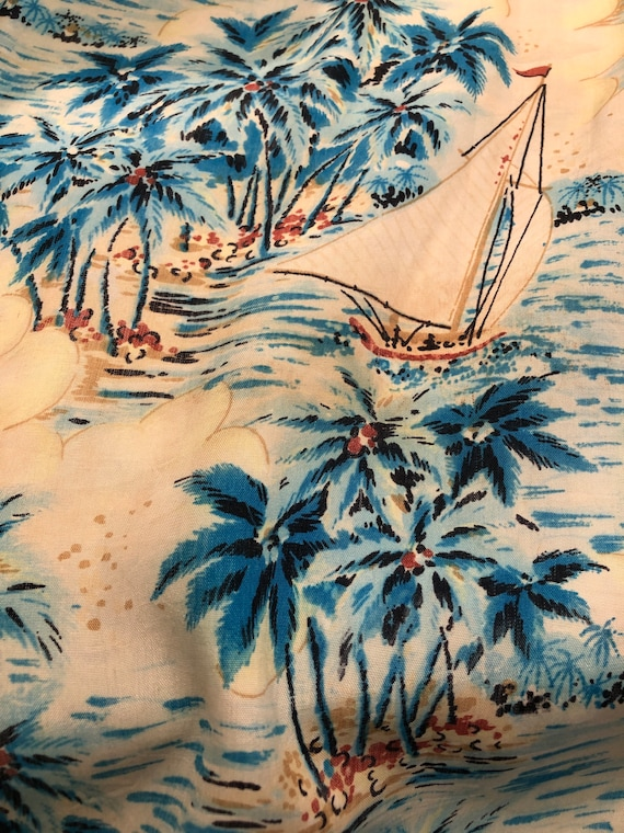 1960s Blue Rayon Paradise Island Hawaiian Aloha S… - image 10