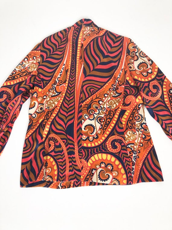 AMAZING 60's Rayon Satin Print Blouse S - image 6