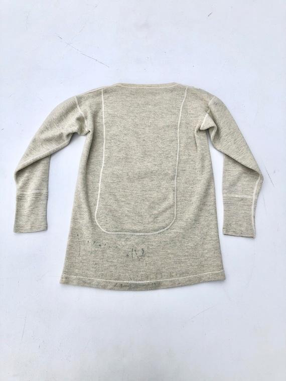 1940s Wool Knit Thermal Long Sleeve Shirt S - image 7