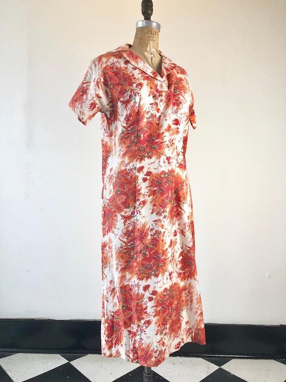CUTE 1950's Hawaiian Print Cotton Dress M