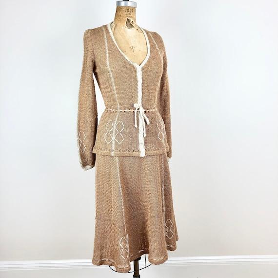 Fabulous 1970s Knit Tan Two Piece Skirt Set S