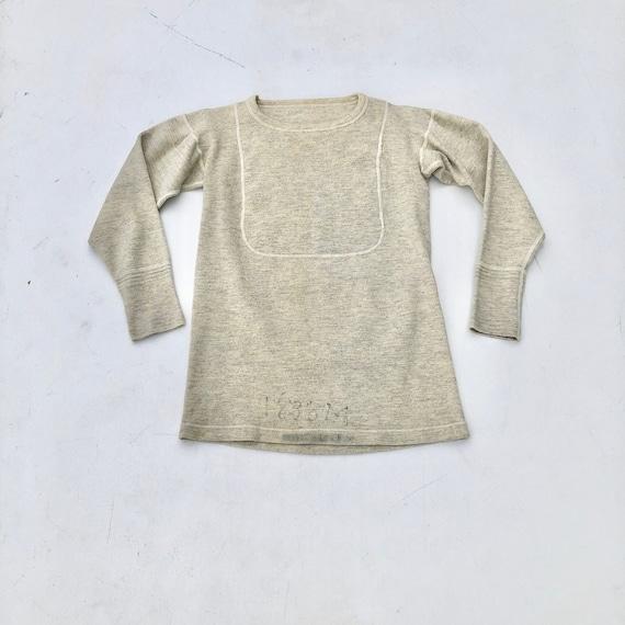 1940s Wool Knit Thermal Long Sleeve Shirt S - image 1