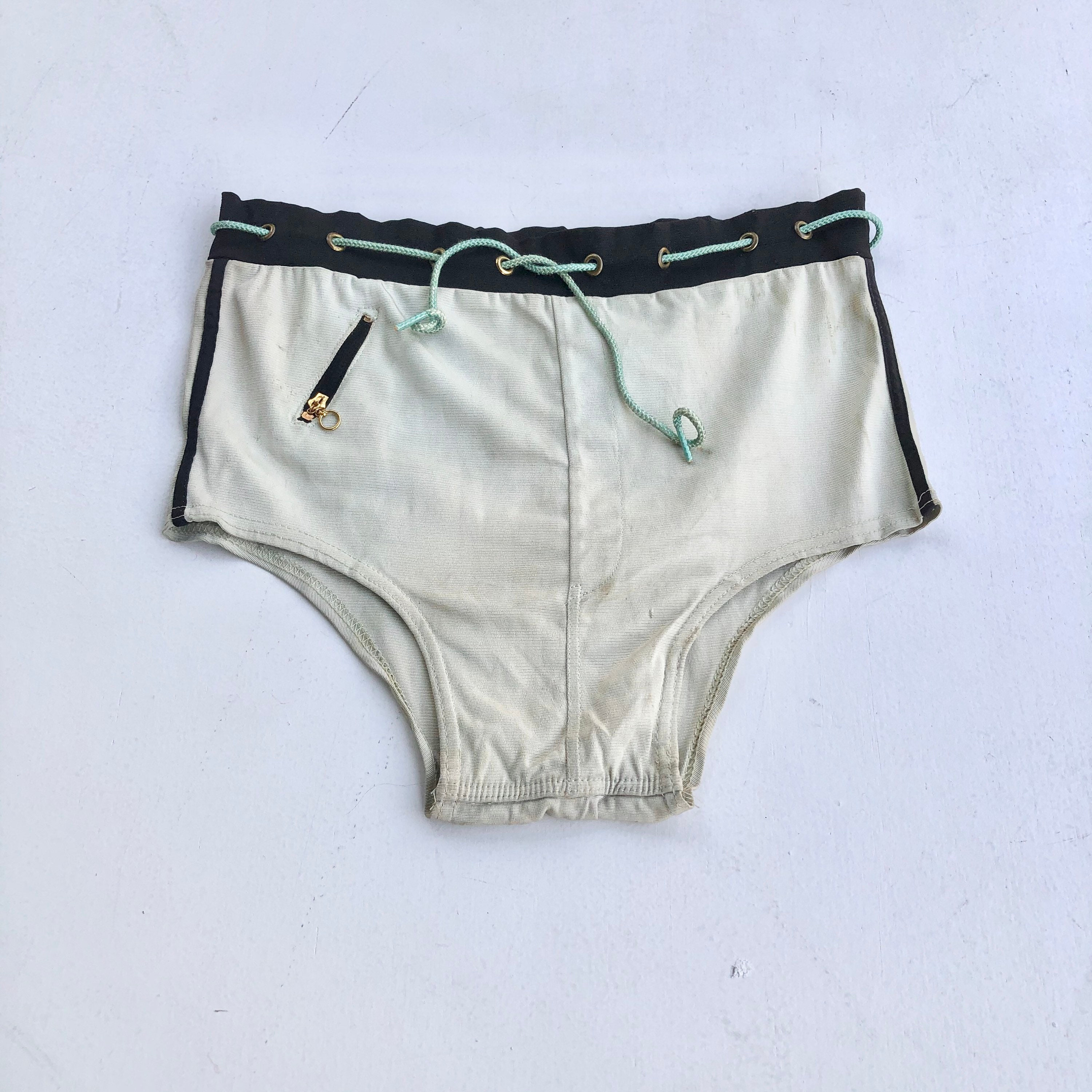1940s Jewelry Styles and History Amazing 1940s Rayon Knit Sailor Swim Briefs S $30.00 AT vintagedancer.com