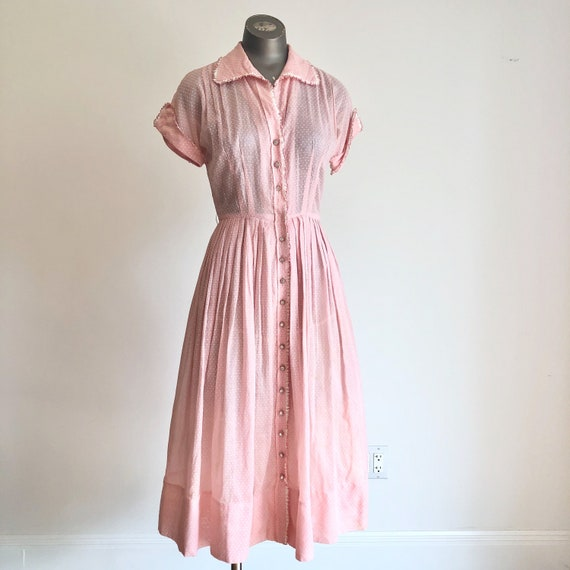 ADORABLE 1950's Pink Swiss Dot Dress S