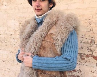 70's Incredible 100% Shearling Patchwork Vest MED