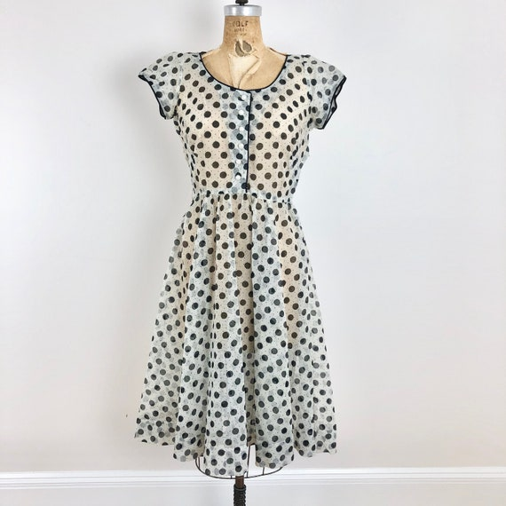 1950s McKettrick Sheer Polka Dot Seersucker Dress