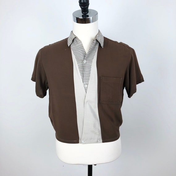 Fantastic 1950's Towncraft Brown Rayon Shirt Jac M