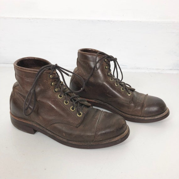 1970s LL Bean Chippewa Brown Leather Lace Up Boots