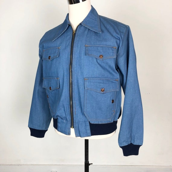 COOL 1970s Deadstock Blue Denim Bomber Jacket M
