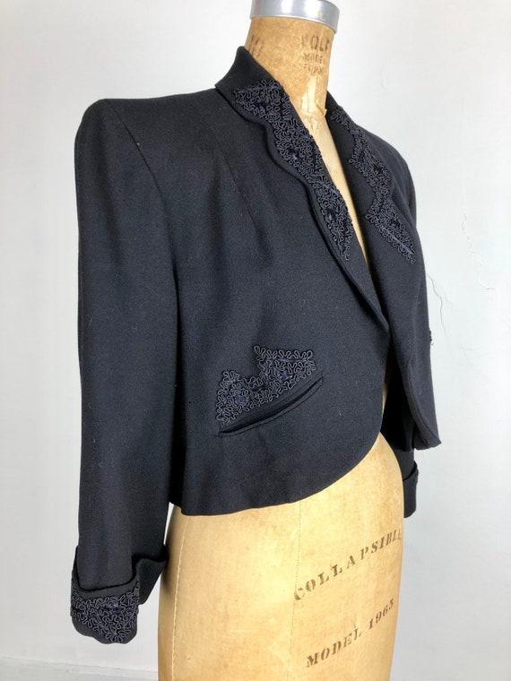 1940's Wool Bolero Jacket W/ Applique M - image 4