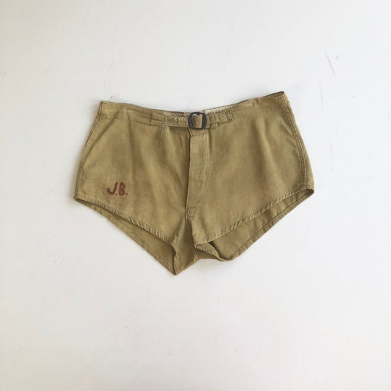 "1940's Khaki Cotton Gym Shorts 33"" Waist"