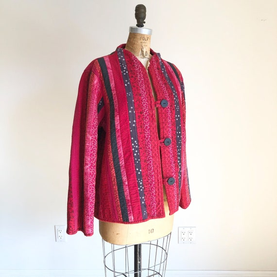 Cute 1980s Red Patchwork Quilted Jacket M L