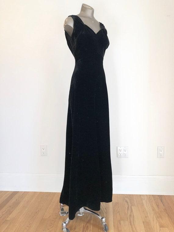 Fabulous! 1940s Black Silk Velvet Bias Cut Gown XS