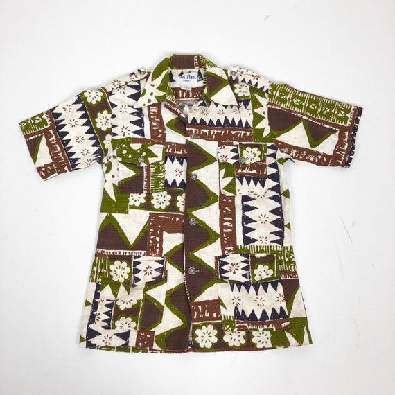 KILLER 1960s Hawaiian Barkcloth Shirt S