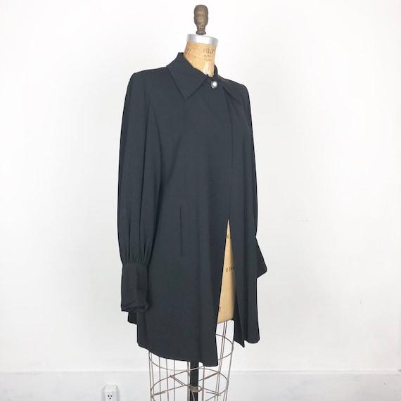 1940's Black Rayon Gabardine Swing Coat S