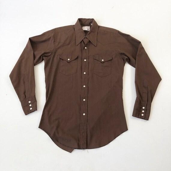 1970's Wrangler Brown Western Snap Shirt S - image 1