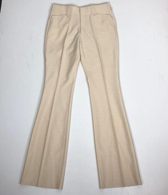 "Deadstock 1970's Trego's Ivory Western Slacks 32"""