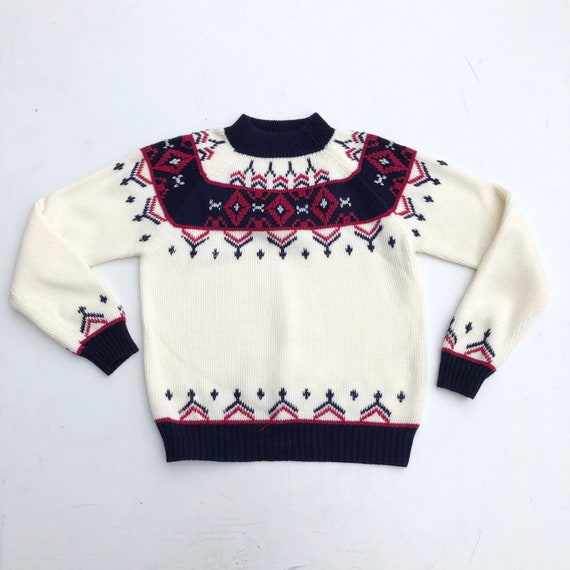 1960's JC Penney Fair Isle Acrylic Sweater S