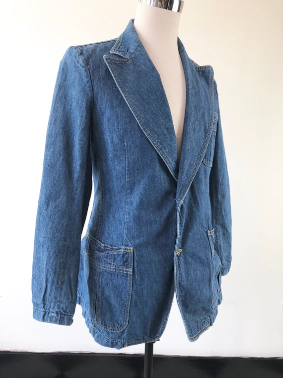 1970's Lee Denim Blazer Jacket S - image 2