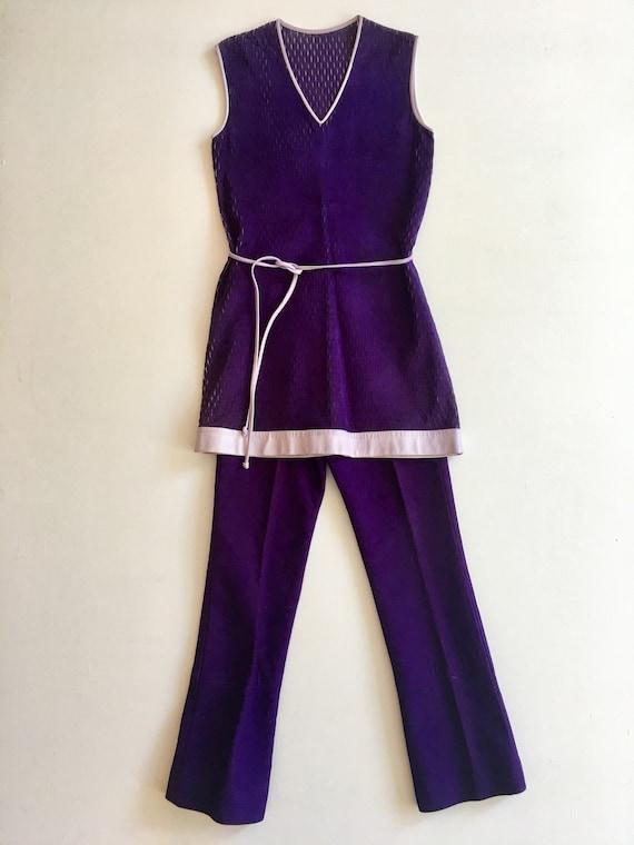INCREDIBLE Glam Rocker 1960s Purple Suede 2 Piece