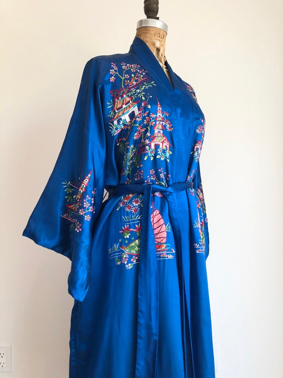 1960s Chinese Blue Rayon Silk Embroidered Robe L