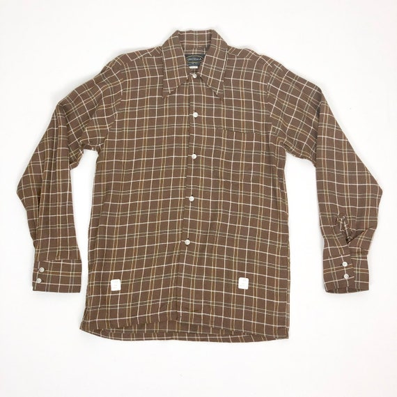 50s Deadstock Brown Rayon Plaid Shirt M