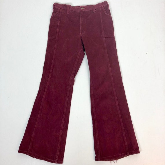 "Fab 1970s Burgundy Moleskin Lee Flares 32"" Waist - image 1"