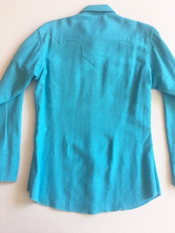 1950s Miller Western Wear Turquoise Cotton Wester… - image 10