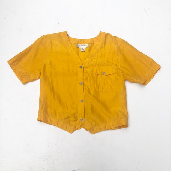 CUTE 1990s Boxy Yellow Silk Blouse M