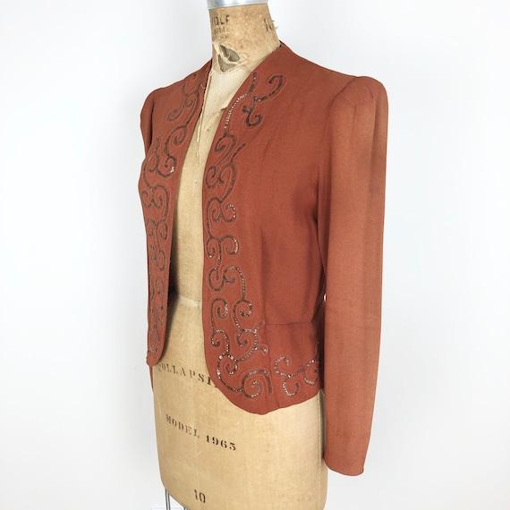 1940s Terra Cotta Rayon Crepe Sequin Jacket S