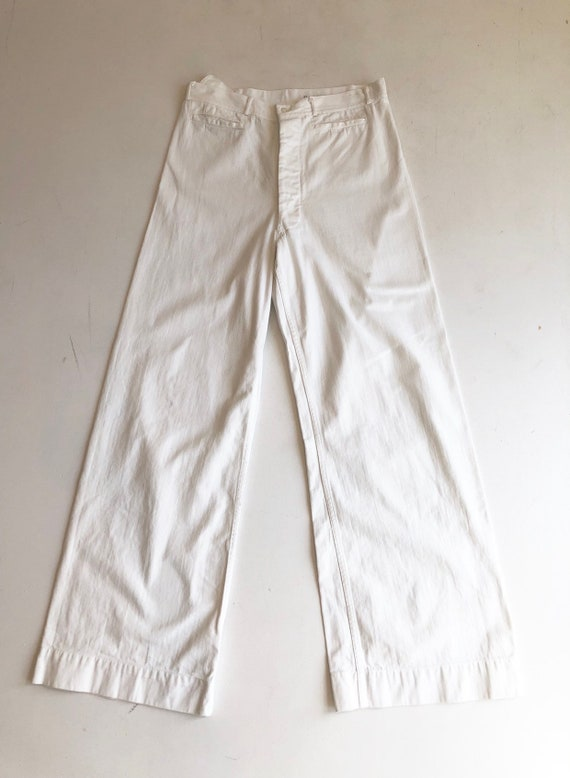 "1960's White Cotton Sailor Pants 30"" Waist"